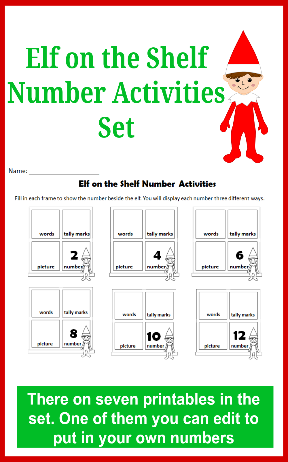 Elf on the Shelf Number Activities Set for Kids - This set explores ...