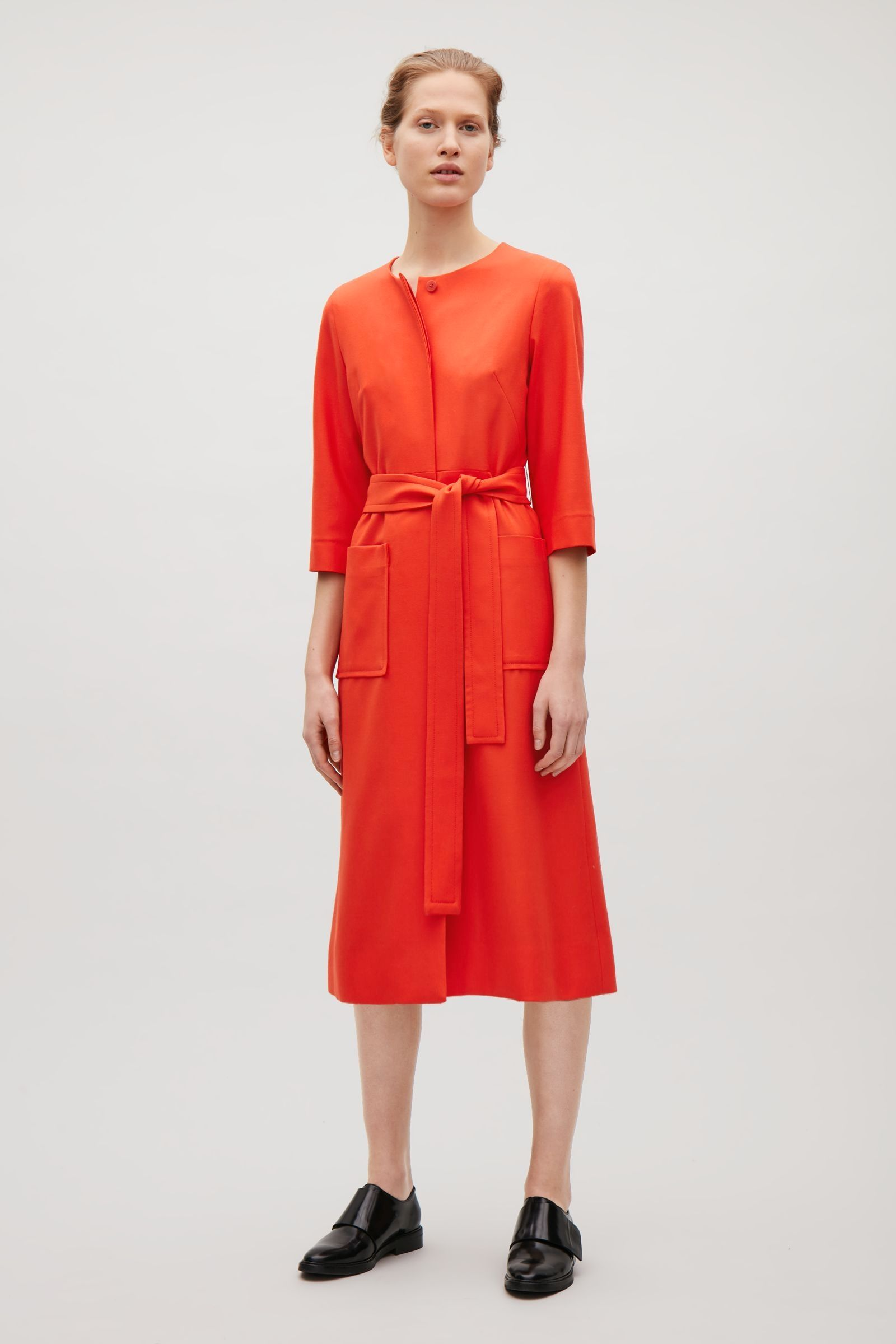 dbb512b2916e COS image of Belted wool dress in Poppy