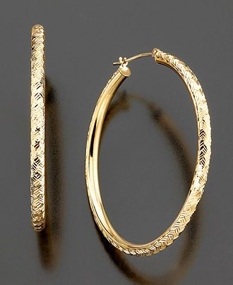 14k Gold DiamondCut Hoop Earrings Gold Jewelry Watches