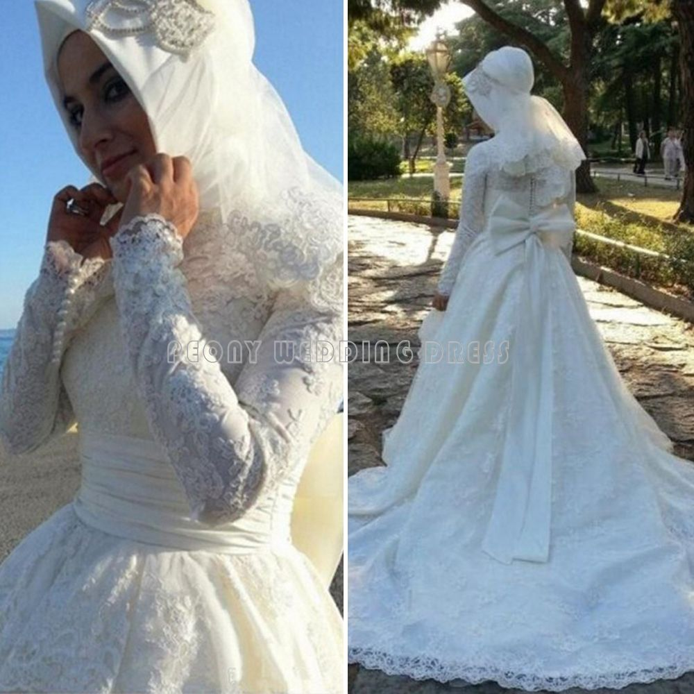 Find a Lace Long Sleeve Muslim Wedding Dress Bow Court Train Ball ...