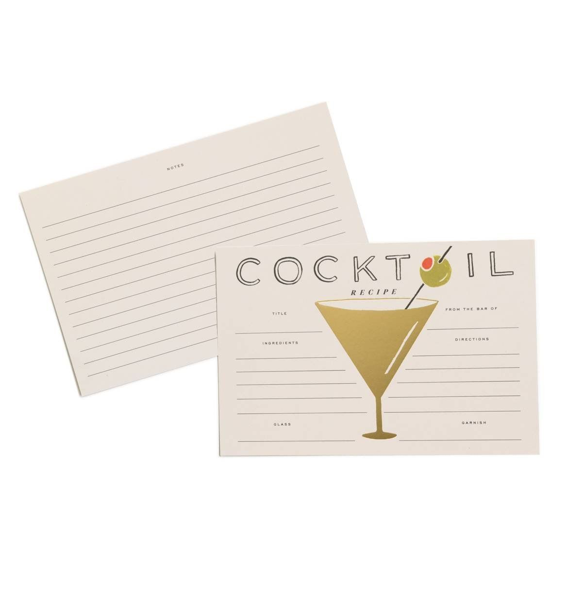 Rifle Paper Co. Gold Foil Cocktail 4' x 6' Recipe Cards -- Set of 12 Cards *** For more information, visit image link.