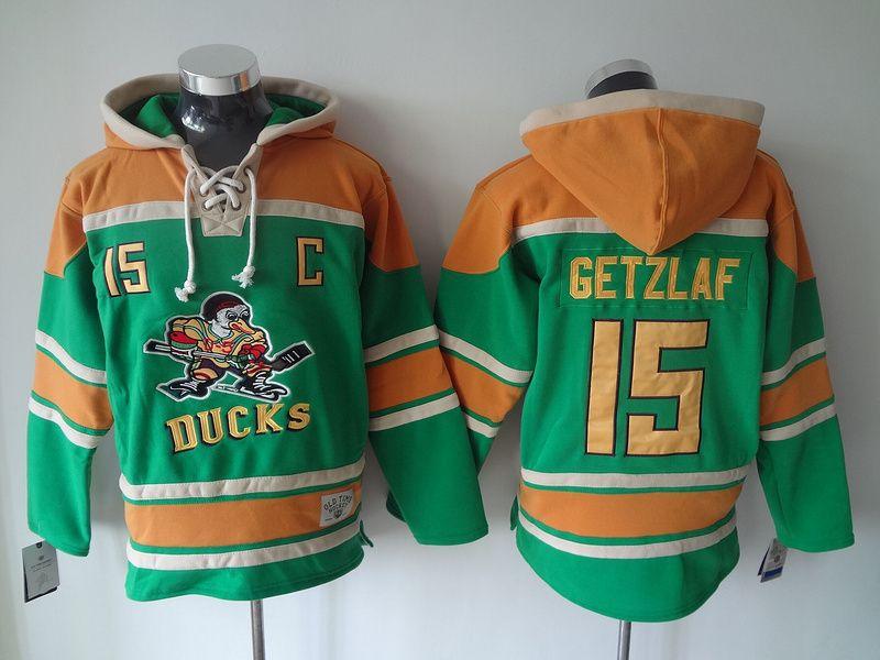 2387a63d749 NHL Mighty Ducks #15 Ryan Getzlaf Lace Up Pullover Hooded Sweatshirt Jerseys  Green/Orange
