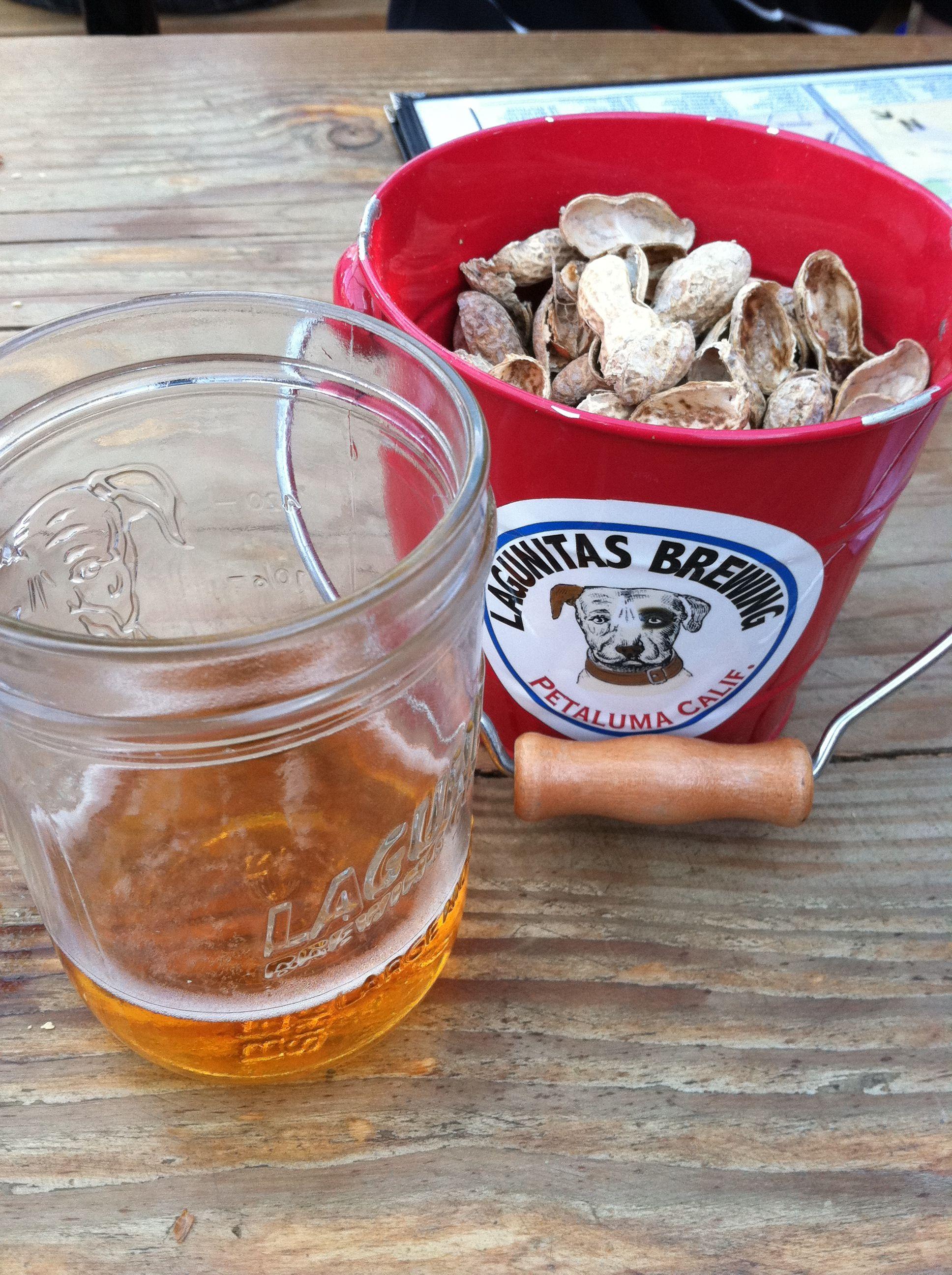 Double yum beer and peanuts at lagunitas brewery