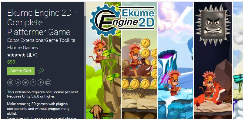 Ekume Engine 2D + Complete Platformer Game Unity Asset Store