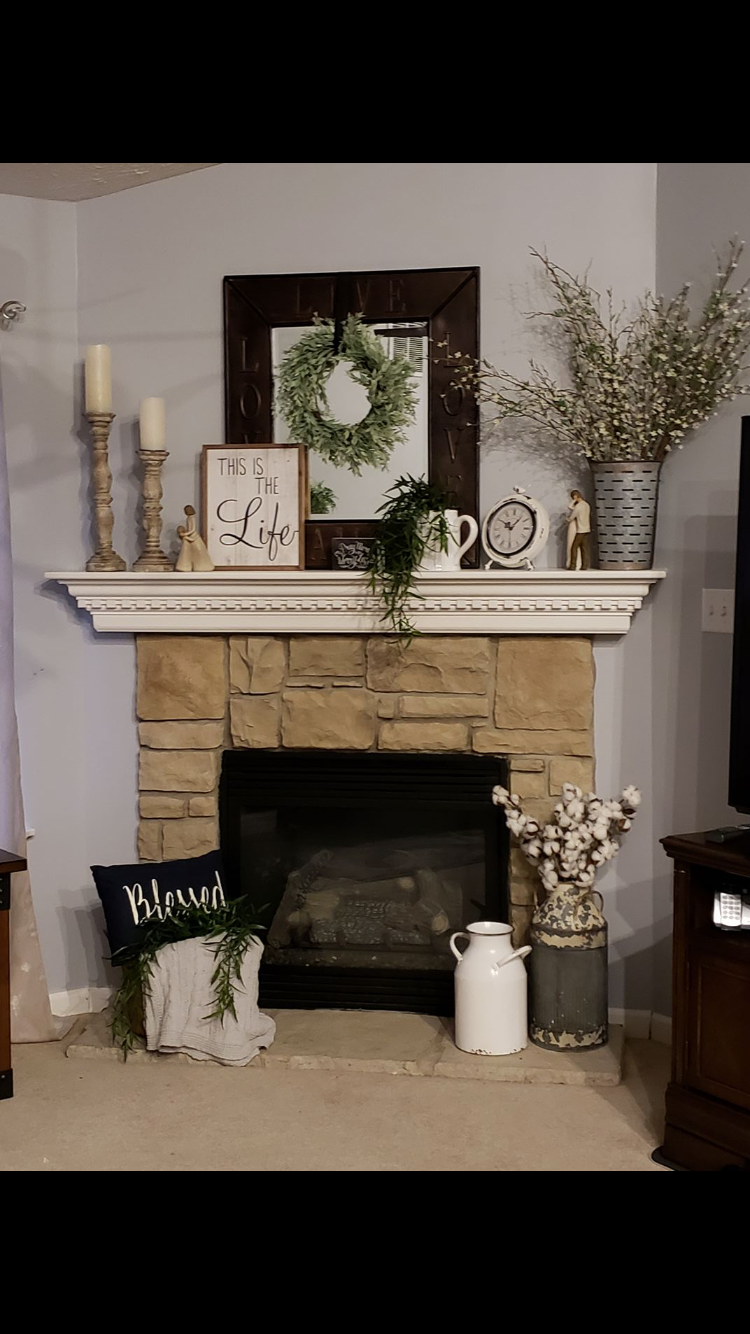 From Cluttered To Classy A Rustic Glam Fireplace Makeover Farmhouse Mantle Decor Fireplace Mantel Decor Fireplace Mantle Decor
