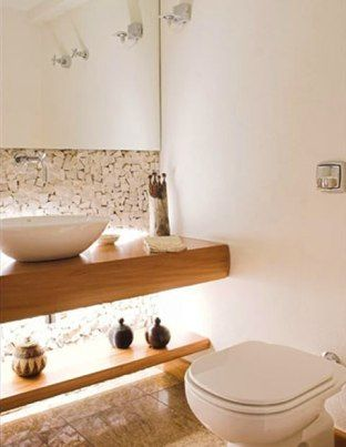 Lavabo Simples Ambientacao C Bancada Madeira Iluminacao Fundo Com
