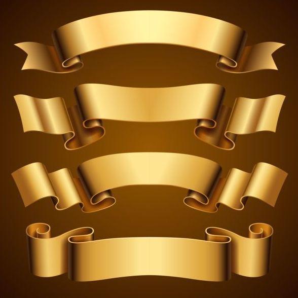 4 Luxury Golden Ribbon Vectors Vintage Labels Design Elements Vector