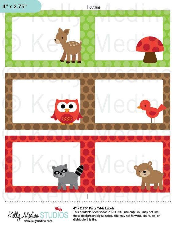 Woodland Animals Printable Labels Animales Del Bosque Etiquetas Imprimibles Woodland Animals Camping Theme Classroom Classroom Themes