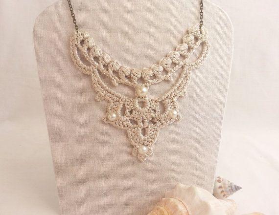 Statement bib Necklace Silver Wedding Pearl Necklace Unusual Jewelry ...