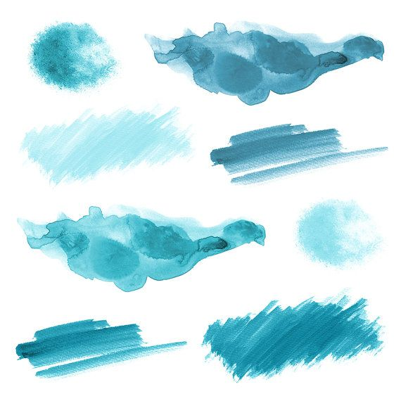 16 Blue Watercolor Splotches Splatters And Brush Strokes