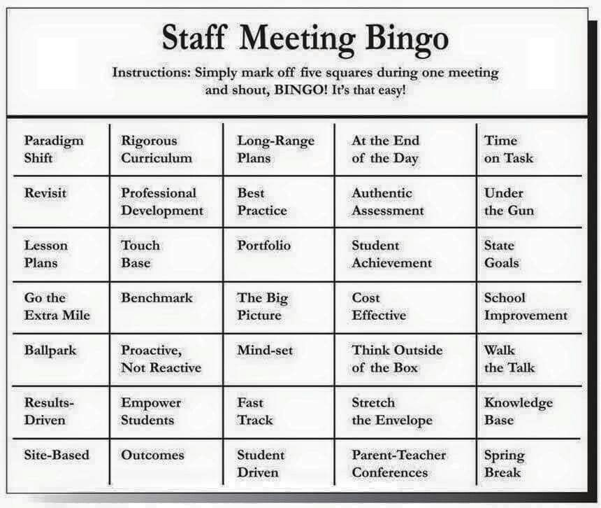 Staff meeting bingo u2022 S C H O O L u2022 Pinterest - staff meeting agenda