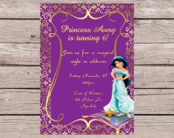 Printable Jasmine Birthday Invitations ~ Disney princess jasmine birthday party invitations aladdin