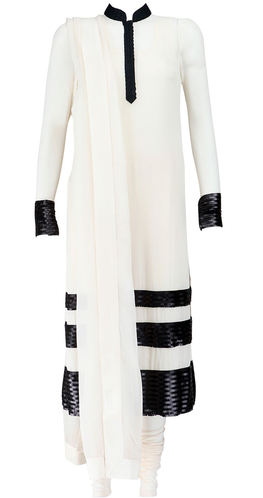 Convert color image to black and white online - White And Black Georgette Kurta Set With Churidar And Dupatta With Sequin