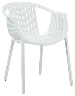 Hammock White Plastic Stackable Outdoor Modern Dining Chair   Modern   Outdoor  Chairs   LexMod