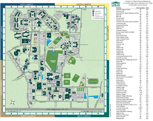 UNC Wilmington Campus Map | plans_campus | Pinterest | North ...