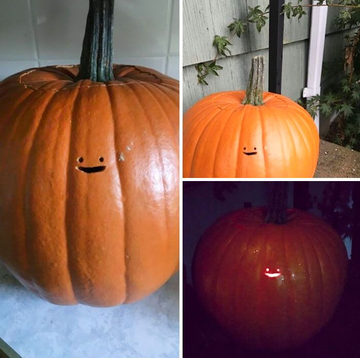 This Jack O Lantern S Tiny Face Is The Laziest Pumpkin Carving Ever
