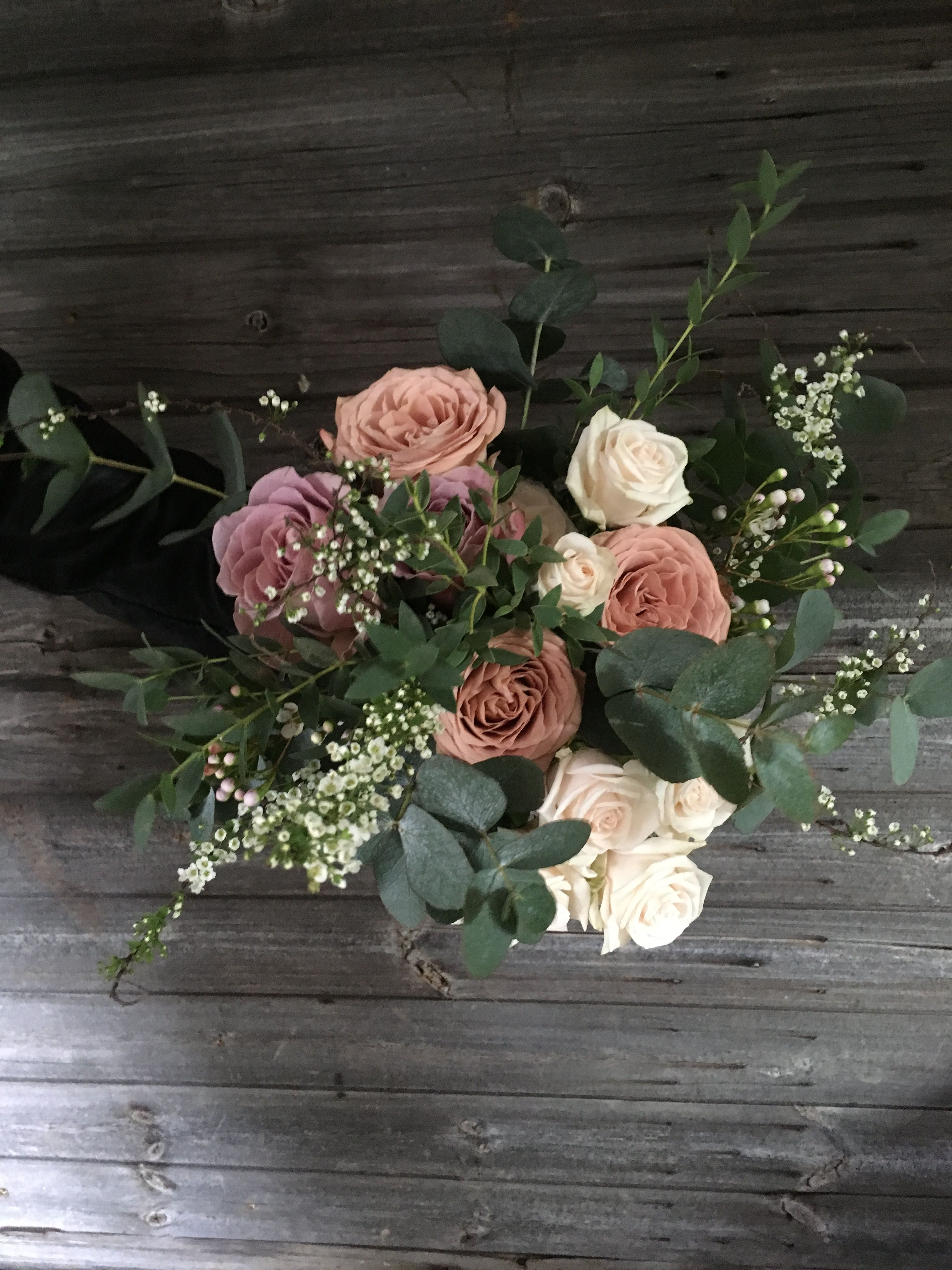 Rustic Bridesmaid Bouquet With Soft Subtle Hues Using Cappucino Rose,