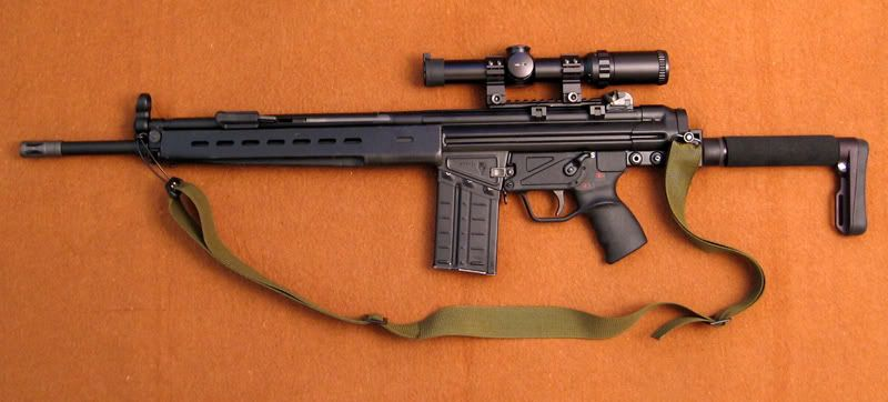 PTR-91: M4 stock adapter, ACE tube stock, claw mount, Hensoldt scope