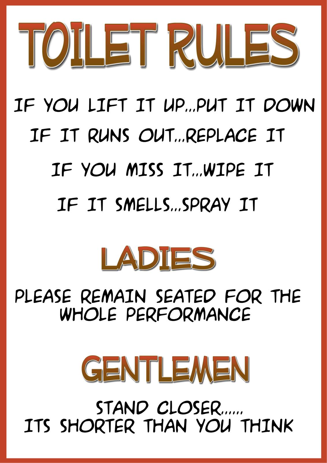 Pleasant Funny Laminated Toilet Bathroom Sign Toilet Rules B Interior Design Ideas Clesiryabchikinfo