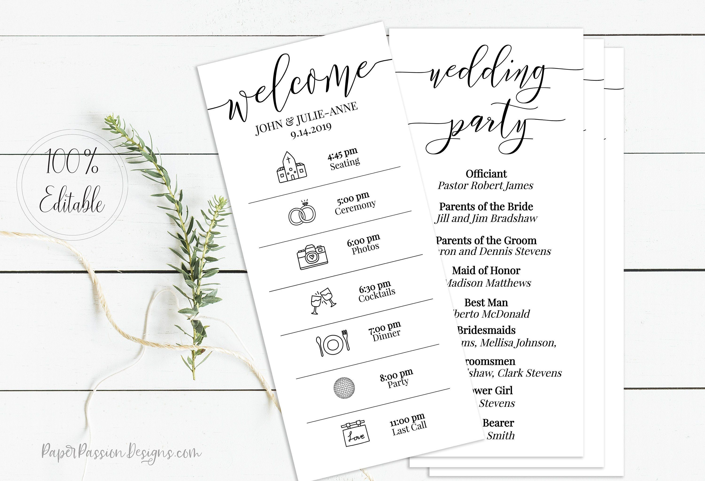 Wedding Timeline Program, Printable Wedding Day Schedule