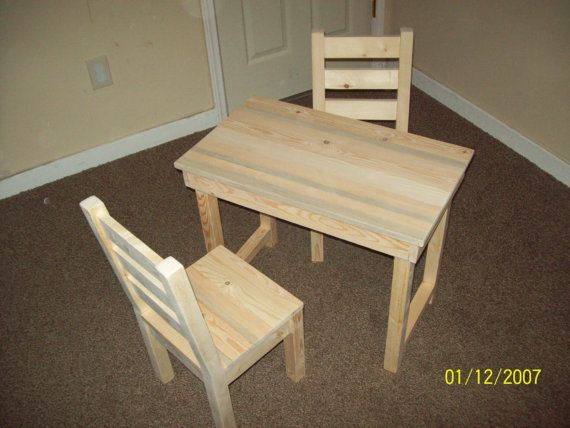 Beautiful Kids, Childs Table And Chair Set. Unfinished. Furniture , Reclaimed ,  Rustic ,