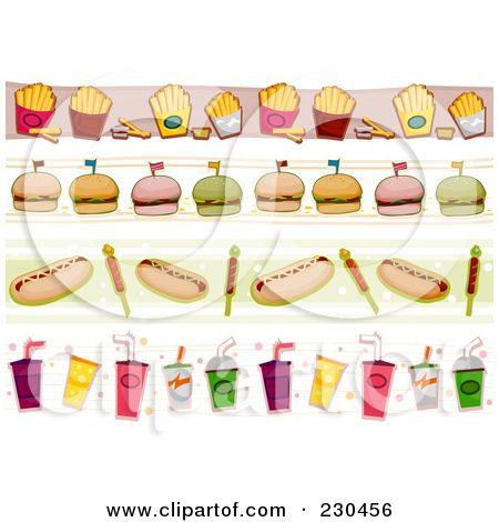 food borders clip art of a digital collage of fast food border