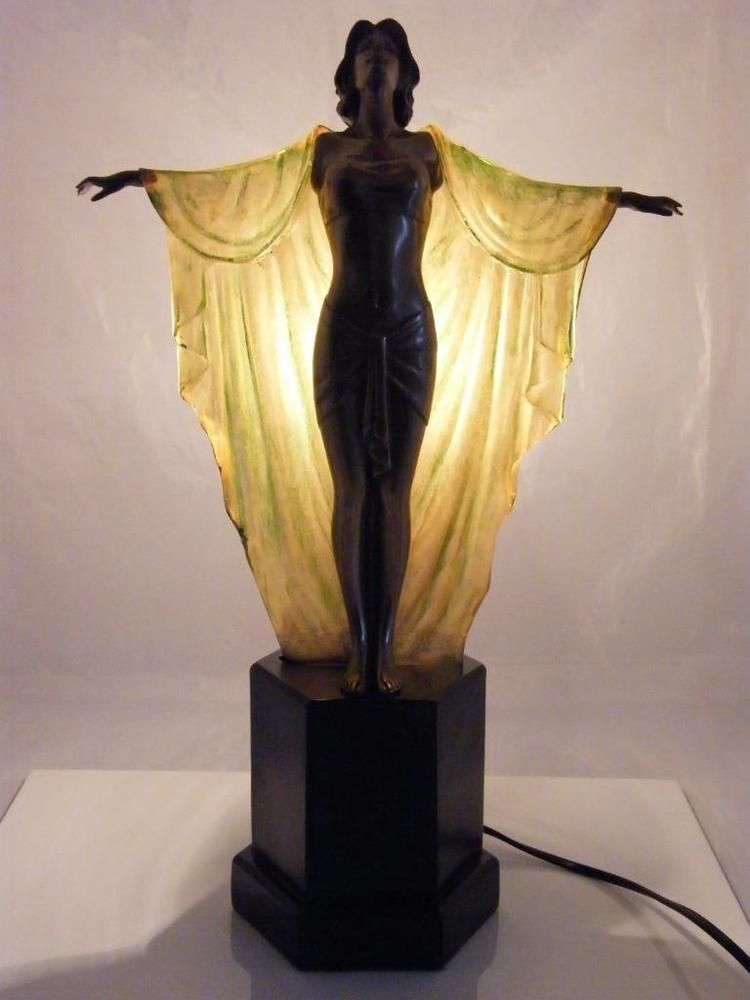 Beautiful art deco style lamp antiques decorative arts lamps ebay