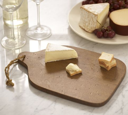 pottery barn vintage wood cheese board: pair with a bottle of wine + cheese & it's perfect for any wine lover! $15