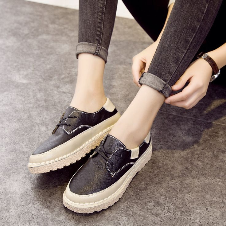 Tendance Chaussures 2018  2017 New Women Genuine Leather Loafers High  Platform Shoes Chaussure Femme Zapat , Vogue Tunisie
