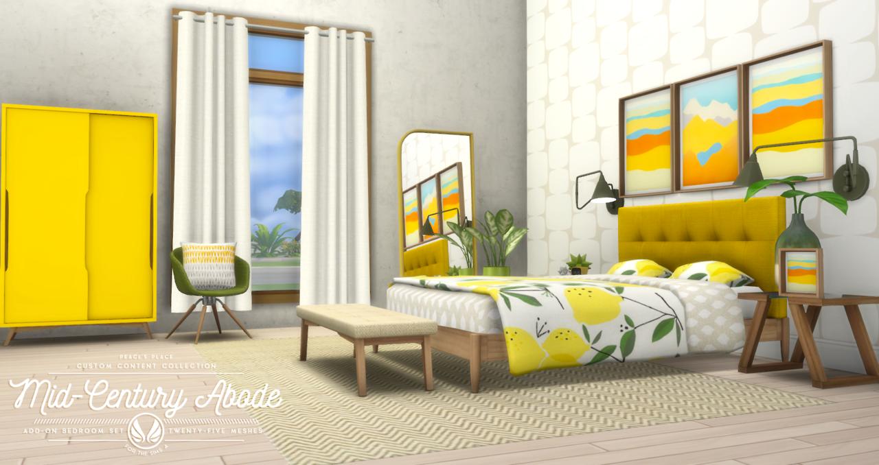 midcentury bedroom set sims 4 cc  bedroom set mid