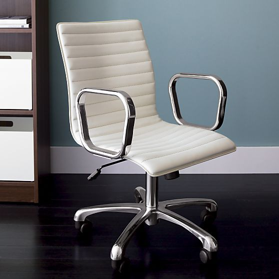 ivory leather office chair plush purple ripple in chairs crate and barrel