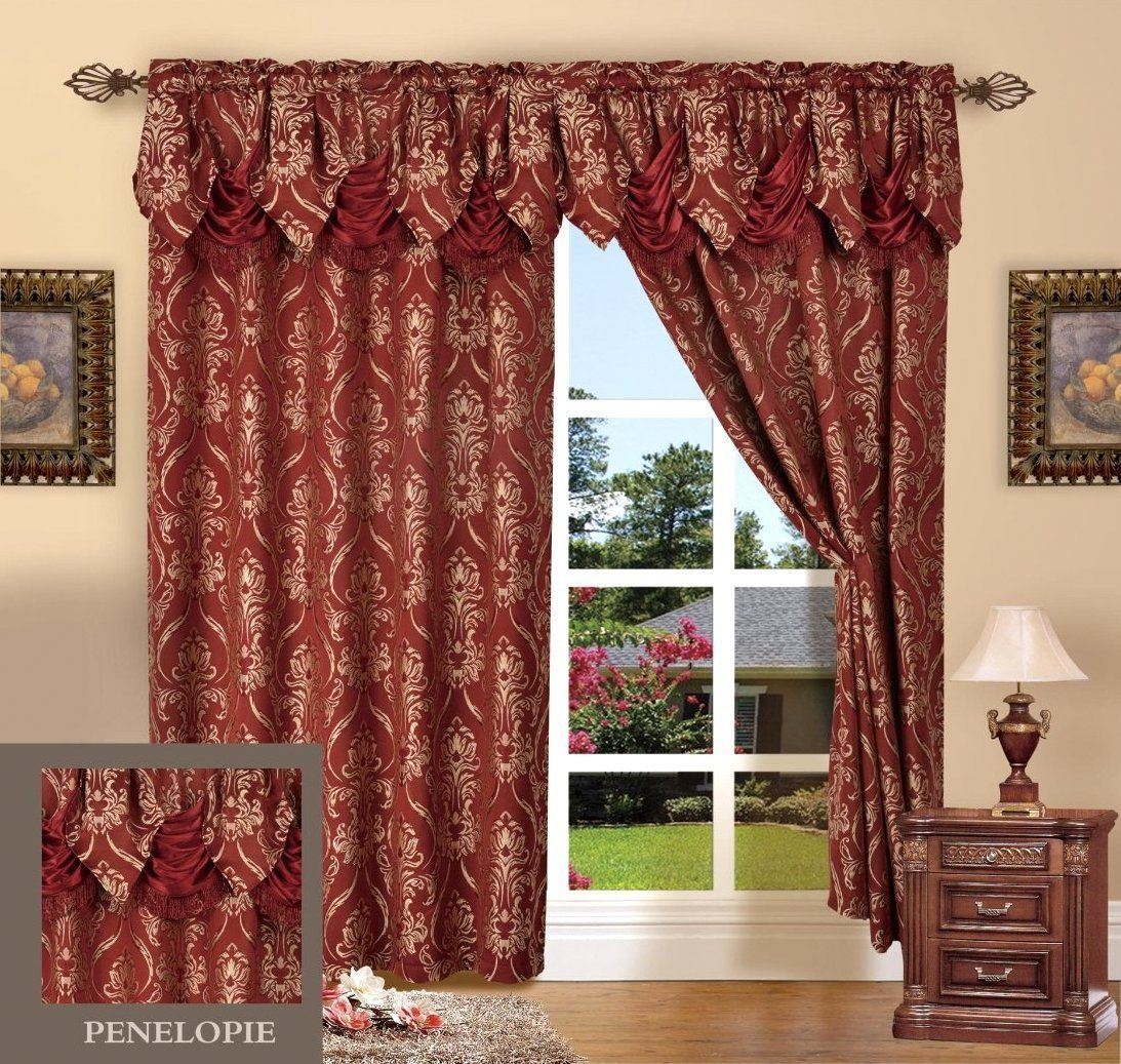 Elegant Comfort Penelopie Jacquard Look Curtain Panel Set 54 By 84 Inch Burgundy