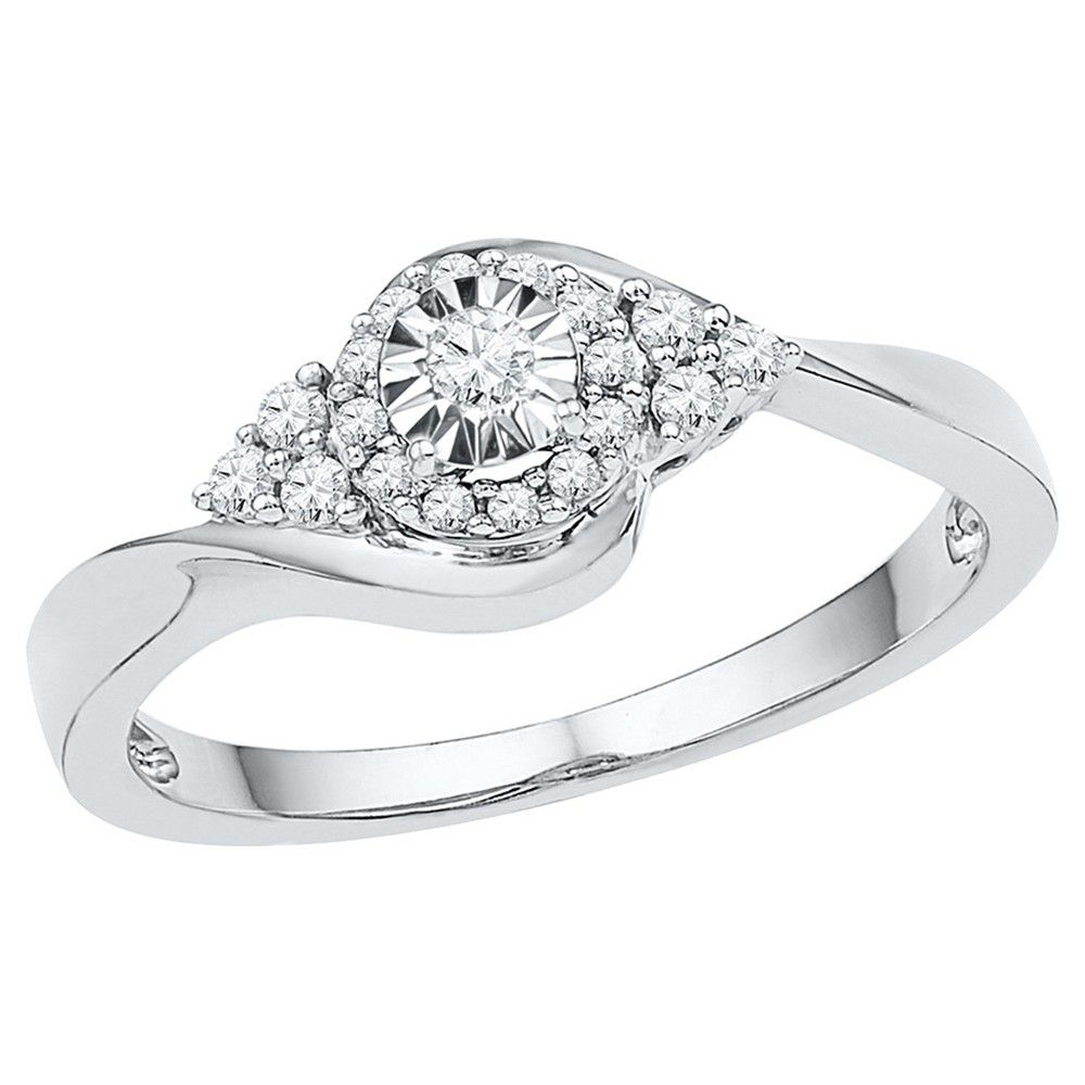 ct tw round diamond prong and miracle set promise ring in k