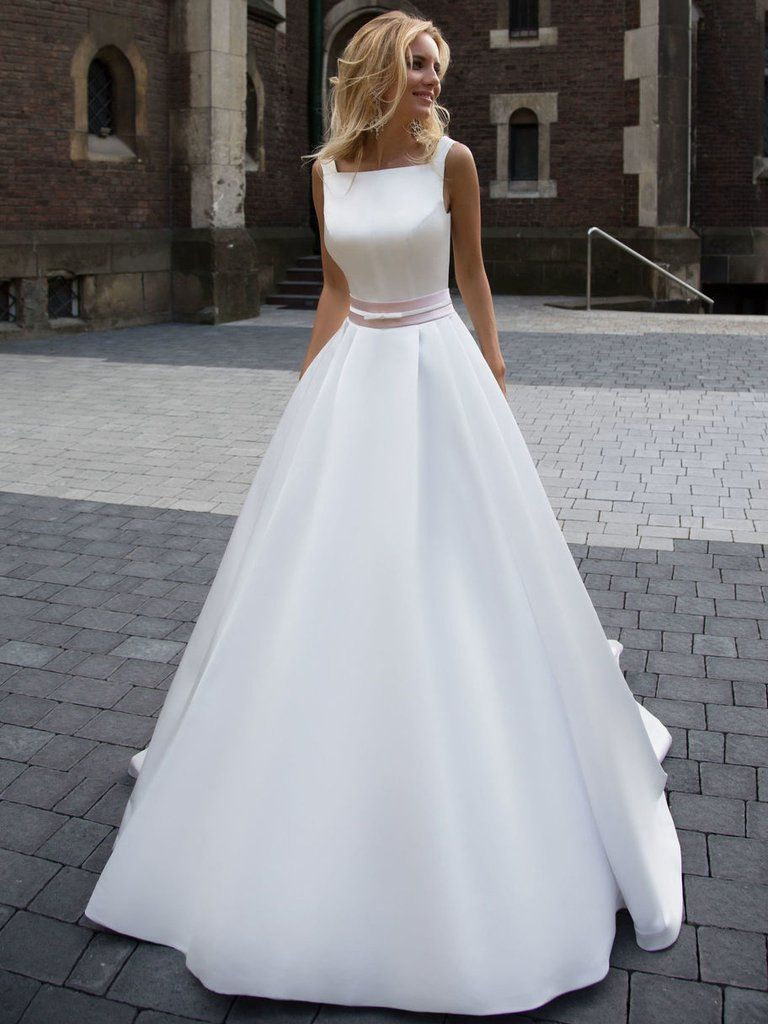 Fashion Simple Wedding Dresses Beautiful A Line Square Satin Ivory Bridal Gown Jkw066 Princess Wedding Dresses Long Wedding Dresses Wedding Dresses
