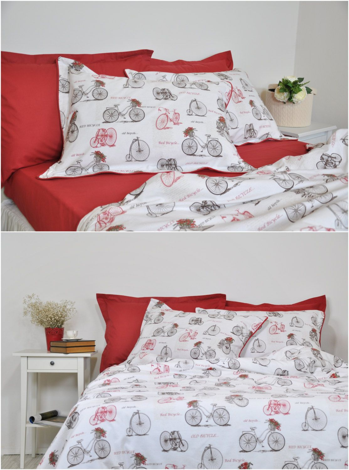 old bicycle duvet cover set in full queen king size sepia brown burgundy red white vintage bike print bedding duvet cover u0026 pillowcases