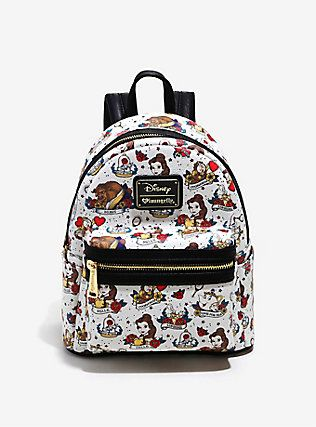 a81a20bb74 Loungefly Disney Beauty And The Beast Allover Tattoo Print Mini Backpack
