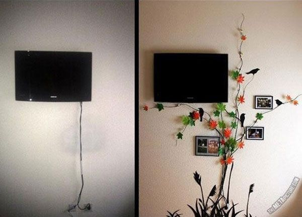 20 Simple And Ingenious Diy Projects That Will Hide Your Wires Into Wall Art Tv Cords Hide Tv Cords Hidden Tv