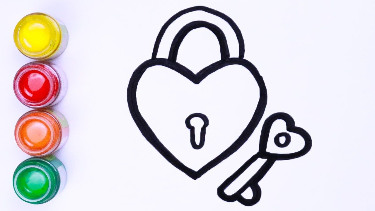 Menggambar Dan Mewarnai Kunci Dan Kunci Jantung