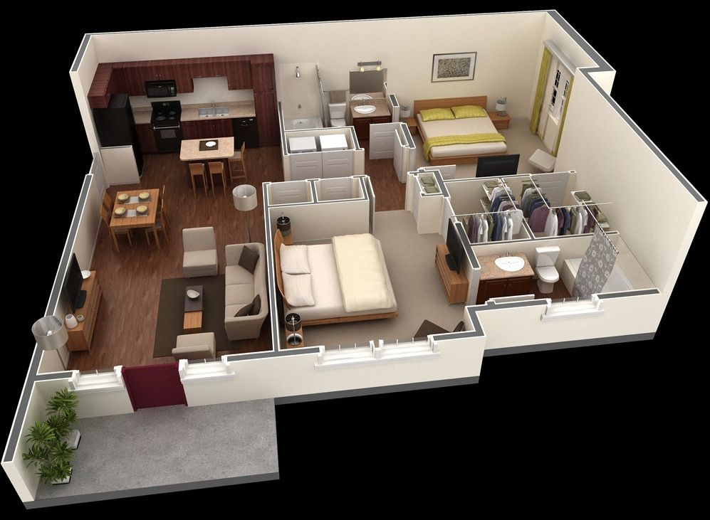 25 best ideas about 2 bedroom apartments on pinterest 3d house plans 2 bedroom floor plans and small house layout - Bedroom Placement Ideas