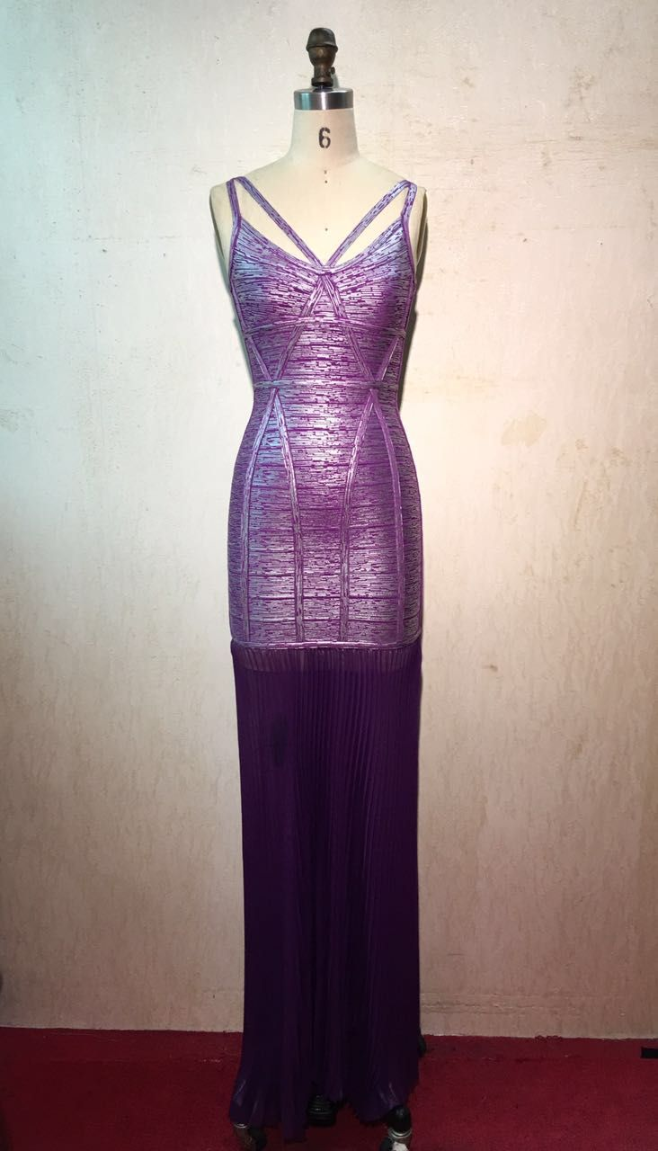 Purple herve leger high low bandage dresses for women herve leger