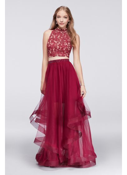 Embroidered Halter Crop Top and Tiered Skirt Set 8145RC7C | Fancy ...