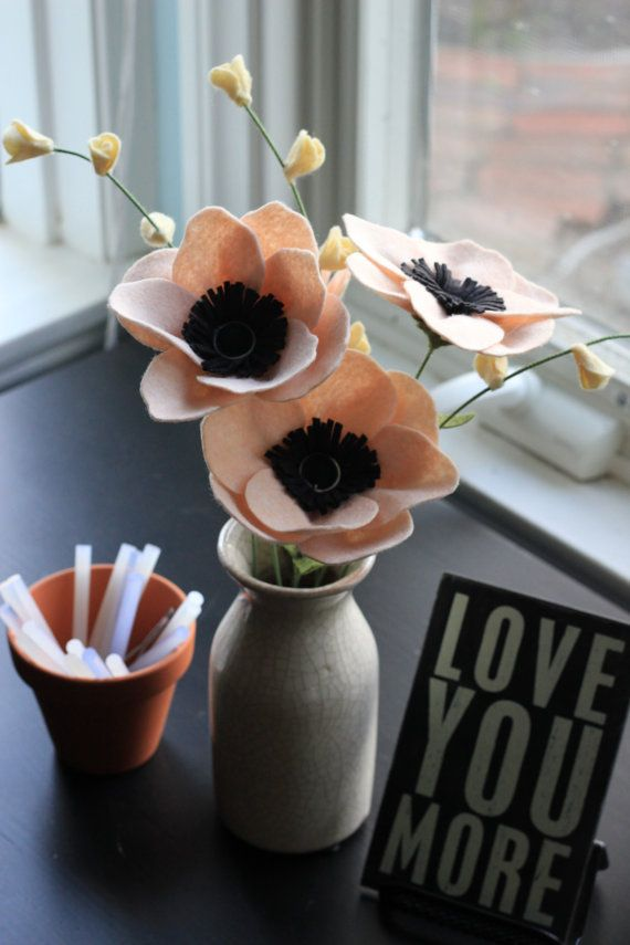 Felt Anemone Build Your Own Bouquet by TheFeltFlorist on Etsy