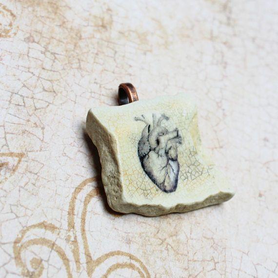 Anatomical Heart Pendant On Sea Pottery Handmade Shipwreck