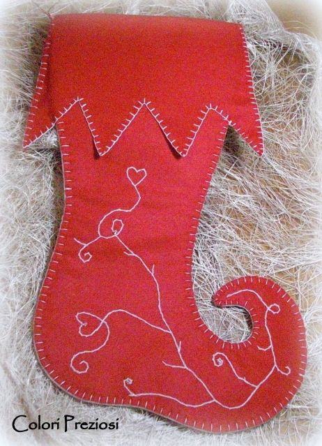 Stocking Felt with embroidery handmade and swarovski crystals