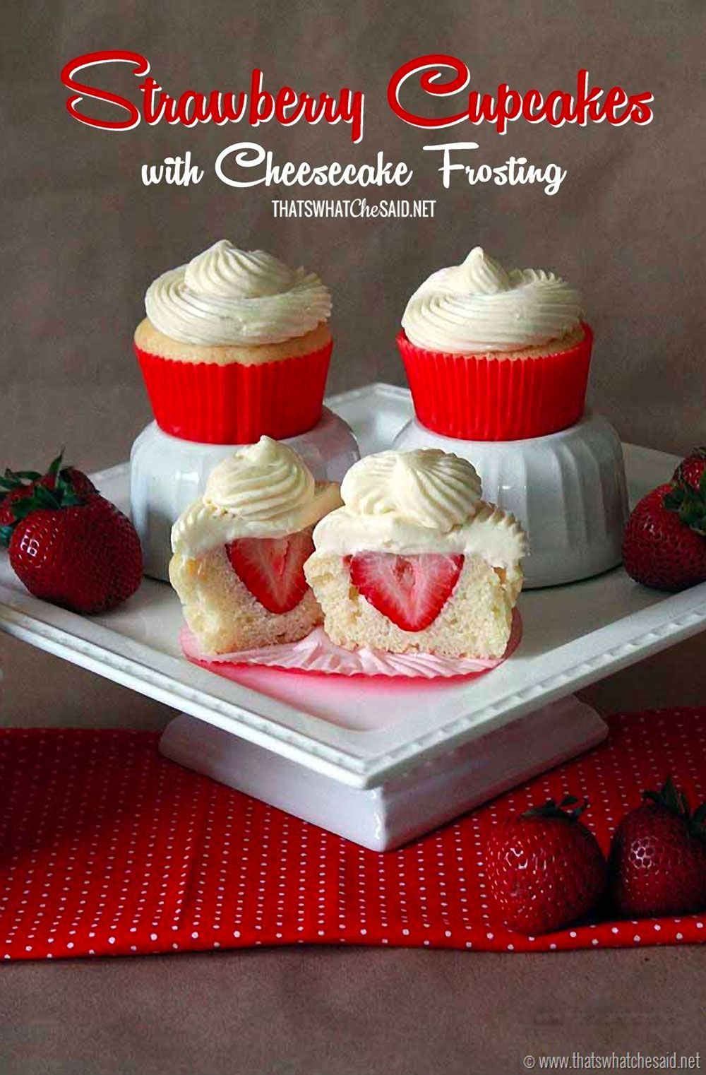 These Surprise Strawberry Cupcakes with Cheesecake Frosting are so satisfying and they will make you look like you are Betty Homemaker!   http://thecupcakedailyblog.com/surprise-strawberry-cupcakes-with-cheesecake-frosting/ #strawberry #cupcakerecipes #cheesecakefrosting