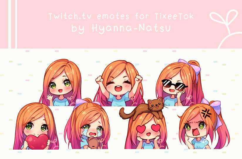 Video Commission Tixeetok Emotes By Hyanna Natsu On Deviantart In 2020 Anime Chibi Natsu Chibi Drawings