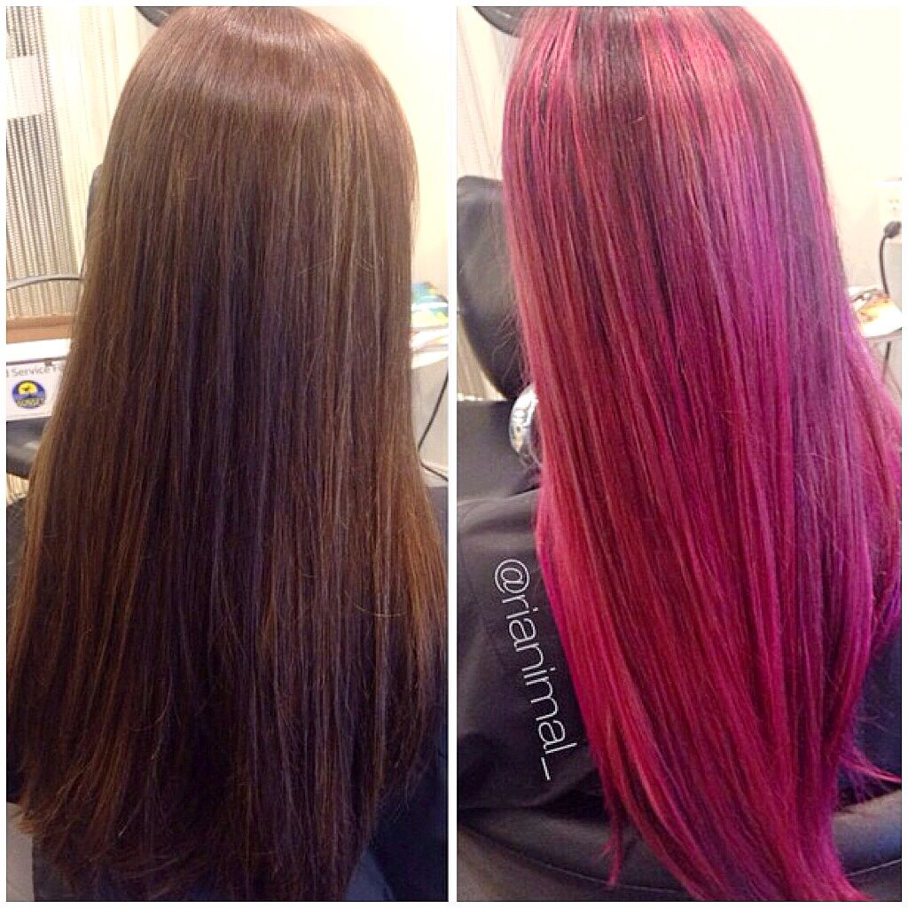 Major Makeover From Deep Brown To This Rooted Bright Pink Color Meld By Rianna Using Arctic Fox Virgin Fox Hair Dye Arctic Fox Hair Dye Arctic Fox Hair Color