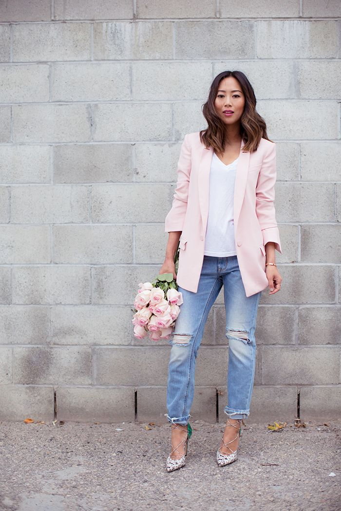 Song Of Style Rebecca Taylor Pink Blazer Ag Jeans White Tee Res Denim Ripped Boyfriend Jeans Bionda Castan Fashion Pink Blazer Outfits How To Wear Blazers