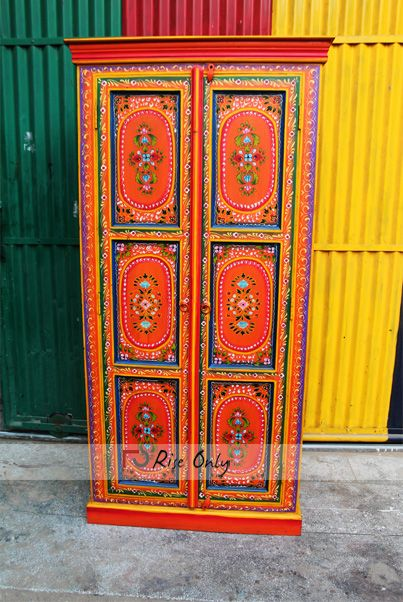 Indian Wooden Floral Design Painted Almirah Cabinet by ...