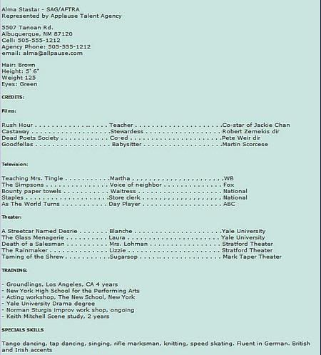 Movie Extra/Actress Sample Resume Résumés  Such! Acting resume